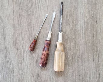 Vintage Screwdrivers set, Wooden Handled Screwdrivers Flat Head and Philips, Wooden Smal and large Screw driver, Christmas Gifts for dad