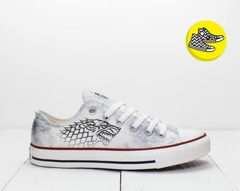 Grey Stark Direwolf custom shoes design Game of Thrones converse sneakers