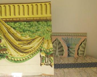 three pieces of vintage wallpaper borders