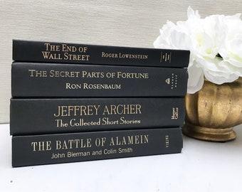 Black Book Set, Black Books for Shelf Decor