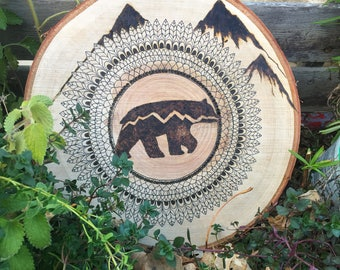 wood burnt bear mandala