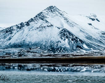 Landscape Photography, Iceland, Ring Road Trip, Snowy Mountain Scape with Reflection on Water