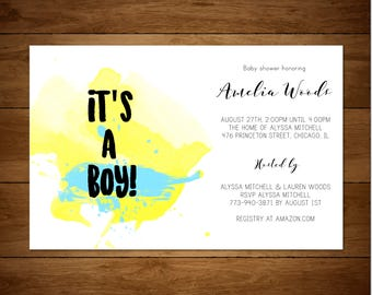 It's a boy! Watercolor Baby Shower Invitation *DIGITAL FILE*