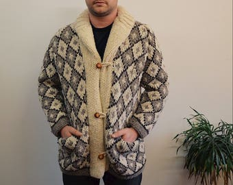 60s/70s Cowichan Hand Knit Diamond Pattern Cardigan, Brown, Off White, Gray RARE Collared Wool Men's Sweater