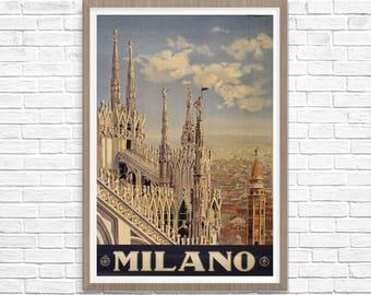 Milan Milano Poster, Milan Italy Travel Poster 1920, Italian Art, Milano Pomi, Italian Art, Italy Poster, Wall Art, Travel