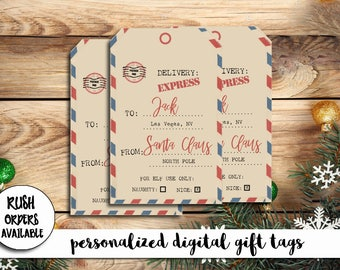 Air mail gift tag etsy vintage personalized gift tags from santa vintage air mail gift tags gift tags negle Images
