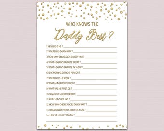 who knows daddy best game, how well do you know the daddy, Daddy Quiz, Gold Baby Shower Games, Gold Glitter Baby Sprinkle Game Printable BL5
