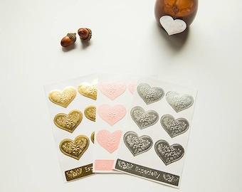 Sticker/golden heart/scrapbooking and handmade creations