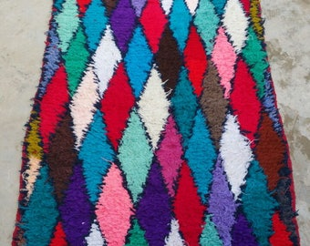 Moroocan Velvet Hallway rug, Hallway, Colorful Rug, , Vintage Runner, Khmisatte  rug.