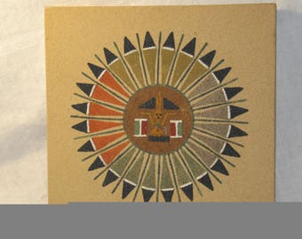Navajo Sand Painting Sun and Eagle - Made by Allen