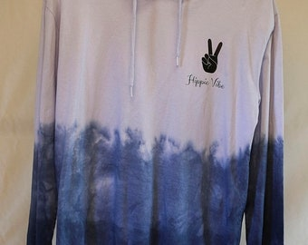 25% OFF ENTIRE SHOP Adult Size L - Ready To Ship - Unisex - Tie Dyed - Long Sleeve Hoodie T-shirt - 100 Percent Cotton - Free Shipping withi