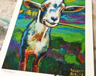 Vibrant GOAT Art Print by Robert Phelps--Goat gifts, Goat Painting, Goat Art, Goat Lovers gift, Goat Decor, Farm Goat, Goat Gift, Goats,