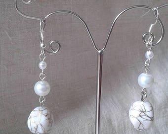 """three beautiful White Pearl"" earrings"