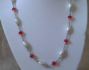 """necklace """"red and white pearls wedding"""""""