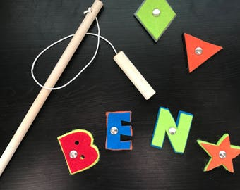 Fishing Game - Personalized Name Puzzle - Montessori Educational Activity - Felt Letters and Wood Fishing Rod Toy - Best Kids Gift Under 20