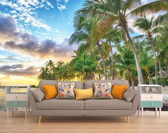 Wall Mural Palms, Palms Wall Covering, Beach Wall Art, Exotic Wall Mural, Tropical Wall Covering, Wallpaper Palms, Sunset Wall Mural