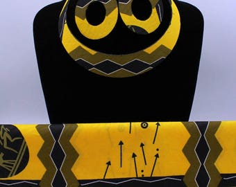 Set Necklace + Earring + scarf with yellow and black fabric
