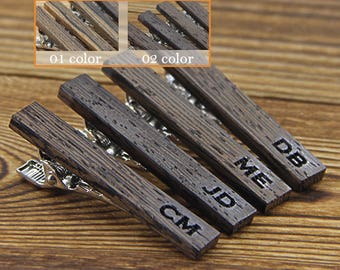 Engraved tie clip, Wood tie clip groomsmen gift ideas wooden tie clip, Wood tie bar, Personalized tie clip, Mens Accessories, Gift for Him