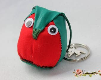 Little OWL /hibou key or deco purse fabric green and Red
