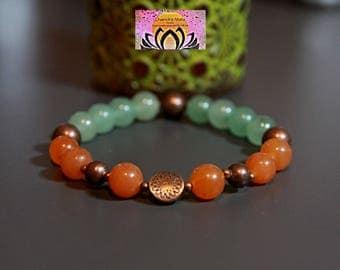 Red and Green Aventurine Copper Bracelet-Beaded Stretchy Bracelet-Wrist Mala-Yoga Bracelet-Boho Chic Elegant Jewellery-Stacking Layering