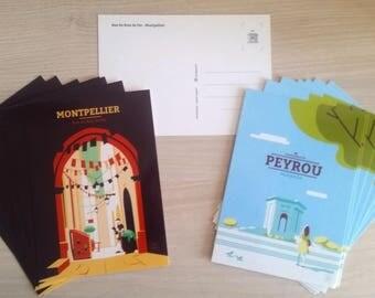 2 Montpellier postcards