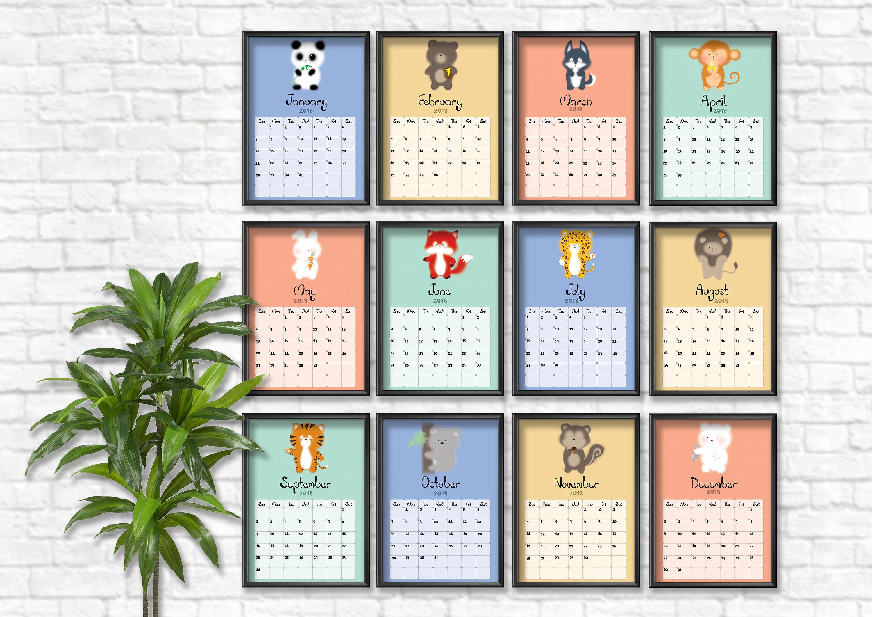 Cute Calendar Planner 2018 : Calendar planner cute animals printable