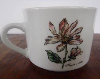 Vintage Botanical Gardens Magnolia Mug Cup Soup (B)