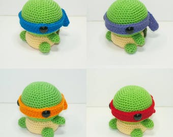 Teenage Mutant Ninja Turtles Michelangelo, Donatello , Raphael, and Leonardo crochet plushy, Amigurumi