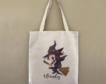 Custom Tote Bag Trick Or Treat Flying Witch Customizable Personalized Gift For Her Gift For Him Halloween Tote Bag Trick or Treating Tote