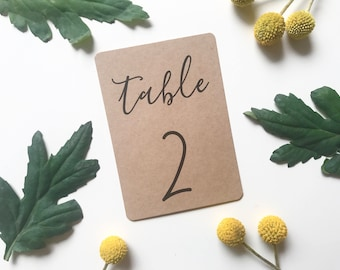 Modern Rustic Wedding Table Number - Kraft Brown Table Number - Wedding Reception Decor