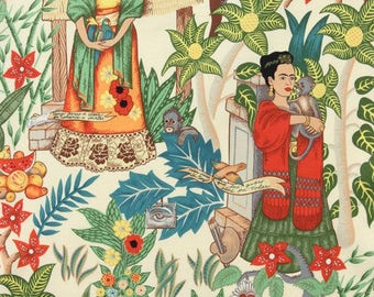 Frida Garden Nature. Patchwork fabric. Quilting. Cotton fabric. Alexander Henry's fabric. Frida's fabric. Mexican fabric. Sewing Fabric