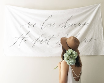 Large Horizontal Calligraphy Wall Banner // Custom Handlettered Wall Hanging
