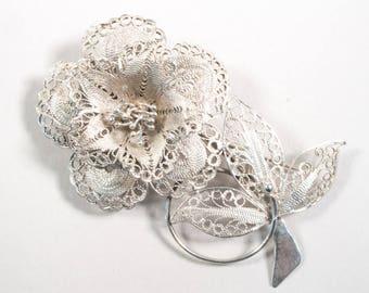 Silver filigree brooch, rose brooch, Djokja silver, Indonesia, 835-1000, flower brooch