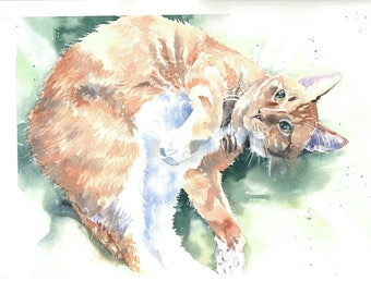 Red cat, Custom cat portrait in watercolor from photo, cat commission art, memory