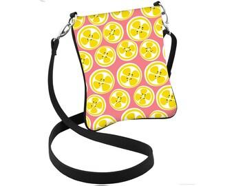 Lemon Design Summer Print Crossbody Purse Hipster Bag