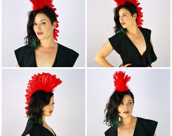 Red Feather Mohawk Headdress