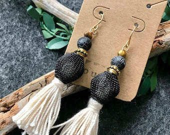 Black and white tassel earrings