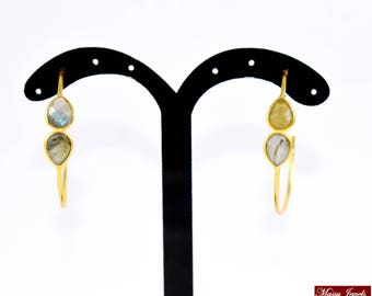 Labradorite hoop earrings ,gold plating ,labradorite earring  ,  gemstone hoop earring,Labradorite  bring amazing changes ,50 % off on sale