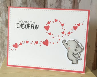 Tons of fan, greeting card, hand made, elephant , baby born, new arrival , folding card, one of a kind, stamping , alcoholic markers,die cut