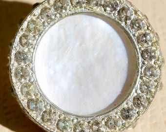 Rimmed in Metal Pearl Button
