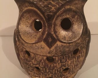 Vintage ceramic ironstone owl incense burner/candle holder