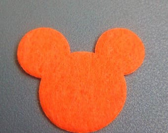 Applique mickey 30x35mm orange felt