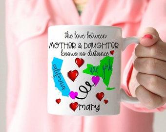 Long Distance Mug State Mug Deployment Gift Long Distance Gift Mothers Day Gift Fathers Day Gift Leaving for College Bound Gift Missing you