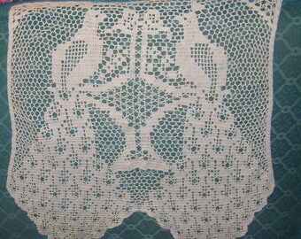 old Ecru Crocheted Double PEACOCK Headrest Doily for Chair or Sofa - use as a Valance or wall hanging