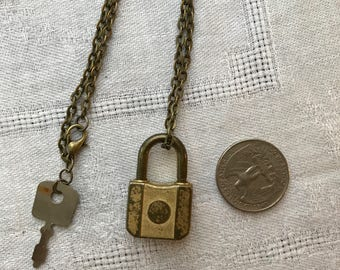 Vintage Miniature Padlock Necklace with Key