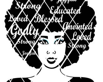 Afro svg,Words in Hair svg, Black women svg,Silhouette svg,Cricut cut files,African merican,Tshirts designs,Afro Girls,Afro hair svg