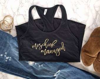 Mischief Managed Women's Gold Foil Racerback Tank Top, Harry Potter, Marauders Map, Deathly Hallows, Dumbledore
