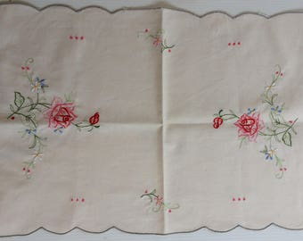 Vintage embroidered doily tray cloth