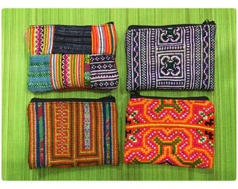 Handmade Tribal Flower Hmong embroidered cotton coins purses
