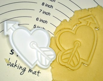 Heart hit by Cupid Cookie Cutter and Stamp